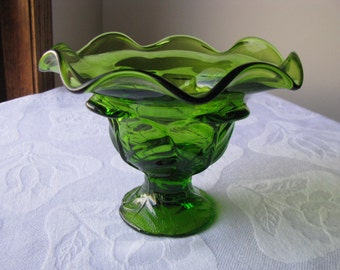 Vintage Viking Green Glass Compote Bowl Candy Dish Cabbage Leaf Pattern