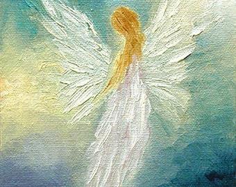 Angel Art Print, Angel, Angel Print Framed, Spiritual Gift, Guardian Angel, Signed Print, Wall Decor, Home Decor,