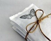 White Lavender Sachets with Butterflies, Romantic Home Decor, Cotton Anniversary - Gardenmis