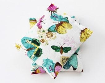 Organic Lavender Sachets, Butterflies, Flowers, Mustard, Teal, Fuschia, Bedroom Decor