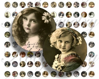 Vintage girls 12x12mm for pendant, , earrings, scrapbook and more Vintage Digital Collage Sheet No.1481