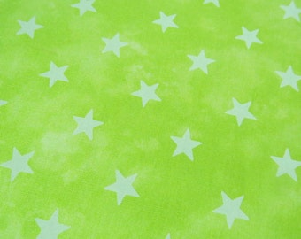 2502A - Retro Star Fabric in Electric Lime Green, Sevenberry Cotton Fabric, Japanese Cotton