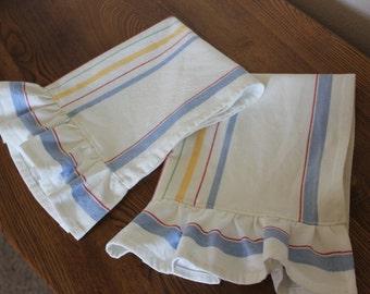Ruffled Cotton Tea Towel - Multi Stripe Blue