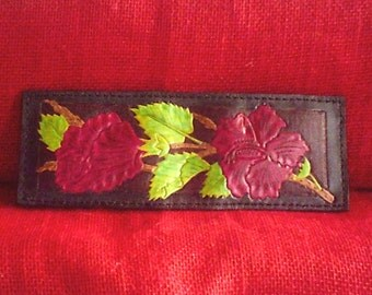 """Handmade Leather """"RED HIBISCUS"""" Wallet on Mahogany and Black"""