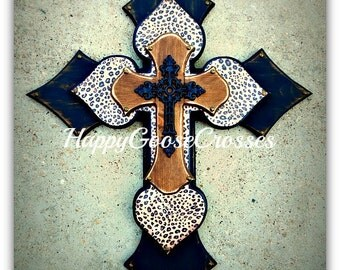 Wall CROSS - Wood Cross - X-Large - Antiqued Black & Stain with Leopard / Cheetah, and black iron cross