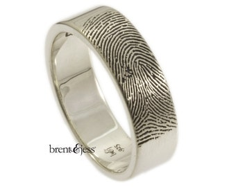 Wide Mens Personalized Fingerprint Wedding Ring with Tip Print on the Outside in High Polish Sterling Silver Fingerprint Ring