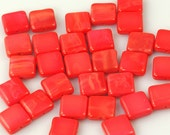 10mm  Bright Satiny Red Square Tile Czech Glass Beads - 15