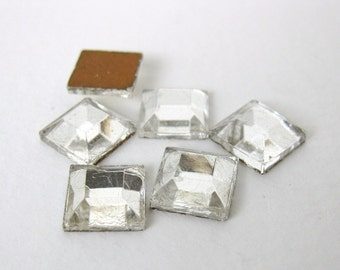 Vintage Glass Cabochon Crystal Clear Square Faceted Jewels 10mm gcb0973 (6)