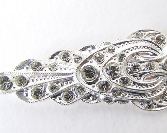 Vintage Rhinestone Crystal Jewel Clear Sew On Silver Metal Shank Deco Czech 52mm but0276 (1)
