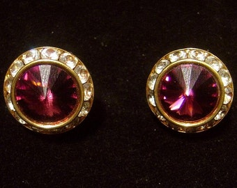 Vintage purple Rivoli Earrings and rhinestones