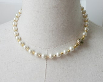 Gold Pearl necklace Rose Bridesmaid Bridal party prom Choker