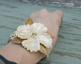Cream Gold  Cuff Bracelet Wrist Corsage Vintage Shell Brooch Aurora Borealis Gold Rhinestones Beach Hibiscus