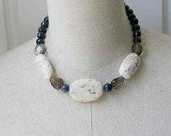 Lapis White Turquoise Smoky Topaz Chunky Beaded Necklace