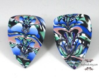 Polymer Clay Cabochon, (2), Handmade, Navy Blue, Leaf Green, Mauve