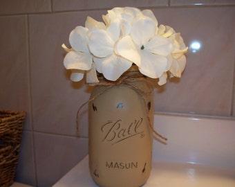 Painted Mason Jar Vase. 1 Quart Size painted and distressed mason jar vase.
