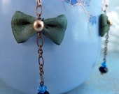Bow Dangles Earrings – Green silk bows, blue Swarovski, brass chain