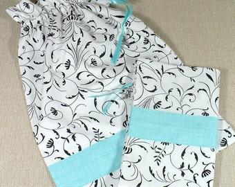 Shoe bags, Black, White, Aqua, drawstring, travel, set of 2