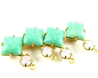 Vintage Glass Dangles Square Set Stones 18x11mm 1 Ring Brass Prong Settings Jade Green & Rose Water Opal - 2