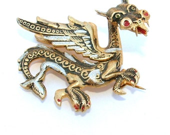 Vintage Fantasy Dragon Brooch Exotic Oriental Damascene Jewelry