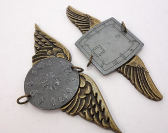 Clock faces and wings, Steampunk Pendants by 7 Gypsies, Charms/Pendants