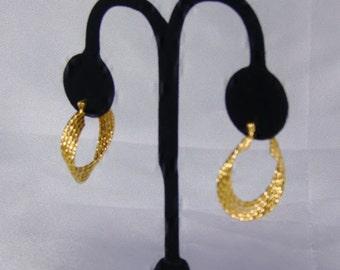 Vintage 1970s Gold Tone Metal Napier Hoop Earrings