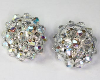 AB Crystal Bead Earrings Clips Large Glitzy Bridal Wedding