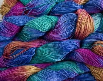 Linen 16/4, Hand painted yarn, 300 yds - Aurora