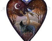 Heart art print. 'A Gift to the Moon'  By Amanda Clark.