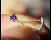 2mm Amethyst Nose Stud set in sterling silver - CUSTOMIZE