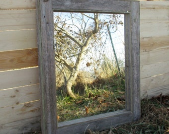 Reclaimed Wood Mirror - Rustic Lodge Decor - Bathroom Mirrors