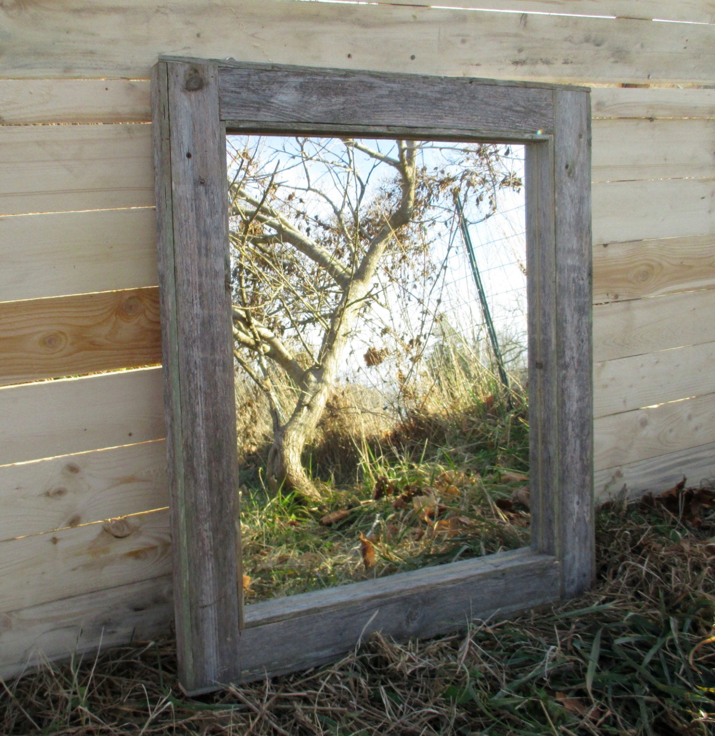 Reclaimed Wood Mirror - Rustic Lodge Decor - Bathroom Mirrors - Reclaimed Wood Decor Etsy