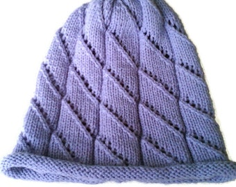Womens autumn spring handknitted merino wool hat