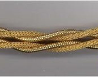 Flexible Braided Bracelet with Baguette Rhinestones / Vintage Jewelry
