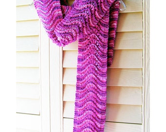 Hand Knit Scarf, Scalloped Lace, Thick Chunky Hand Dyed Wool, Fuchsia Pink Purple Lilac