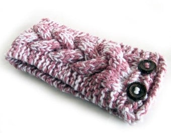 Hand Knit Headband, Celtic Braided Cable, Vegan Washable Yarn, Rose Pink White, Coconut Buttons