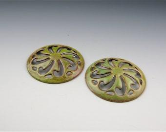 Enameled Pinwheel Focal or Cab /  Bitter Green Enamel / Made to order