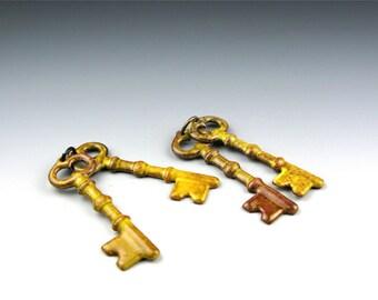 Enameled Keys  / Yellow enamel  / Made to order