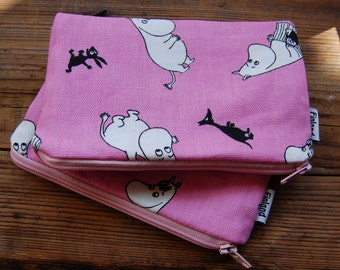 Moomin hot pink cotton coin purse, lined, zippered,  Finland, , 4x5 inches