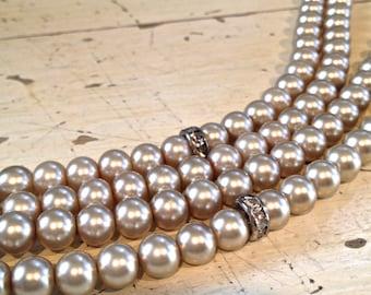 Champagne Platinum Pearl Multi Strand Bracelet, Bridal, Special Occasion Bracelet Cuff