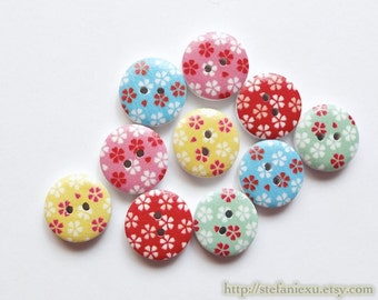 Wooden Buttons, Painted Color - Chic Japanese Traditional Spring Cherry Blossom Sakura Flora Flower (4 in a set, Choose Color)