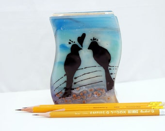 Fused glass Desk Organizer , Pencil Brush Holder ,  Makeup Brush Art Brush - Love Birds in Calm Aqua blue landscape ).
