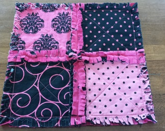 Hot Pink and Black Damask Mini Security Blanket - Rag Quilt