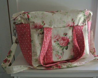Barefoot Roses and Pink Dots Nappy Bag