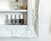 White Baroque Ornate Display Organizer, Polish Rack, Salon Display