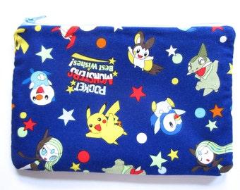 Pencil/Cosmetics Case - Pocket Monsters, best wishes Pokemon Animie, Manga on blue fabric