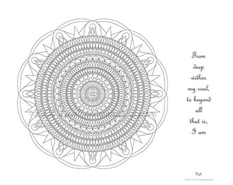 Mandala to Color: Tut - 11x8.5 - PDF VERSION w/message