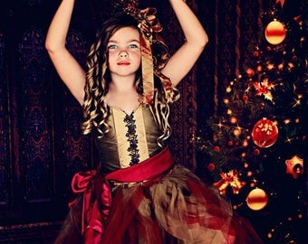 Holiday Nutcracker outfit, tutu, corset and skirt, Christmas outfit, red corset and tutu, Holiday dress