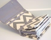 Cash Envelope  Coupon Wallet  Dave Ramsey System  ZIPPER Envelopes - Gray and Natural  Chevron Zig Zag