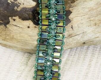 Dark Jade Green Beaded Bracelet - Dark Jade Green Tila Bead Bracelet with Magnetic Clasp
