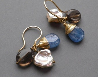 Smoky Quartz Pink Keishi Pearl Kyanite Gold Earrings
